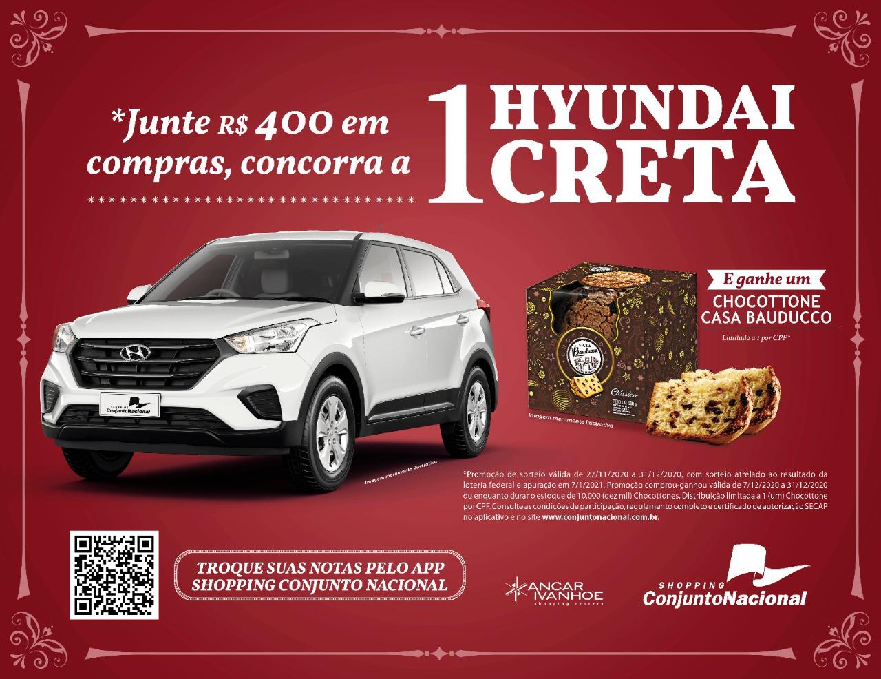 Conjunto Nacional sorteia um automóvel Hyundai Creta Action 0km neste Natal