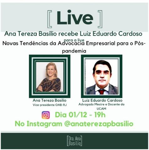 Ana Tereza Basílio receberá o advogado Luiz Eduardo Cardoso