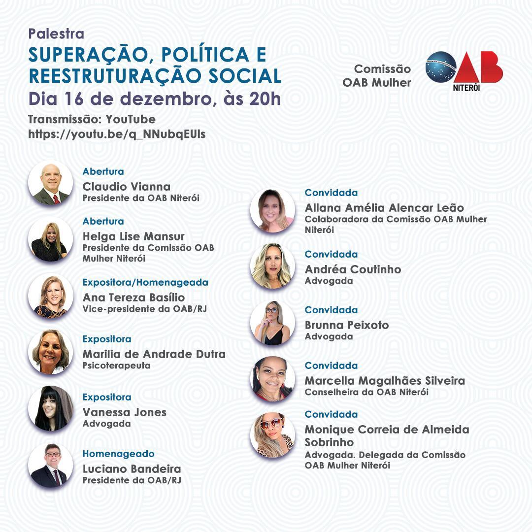 Comissão OAB Mulher de Niterói promove palestra nesta quarta